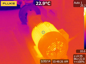 Thermal image of heat pattern indicates an operational motor