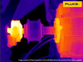 Thermal image of alignment issue on a motor coupling
